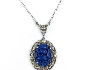 Art Nouveau Sterling Marcasite Blue Art Glass Drop necklace c.1910