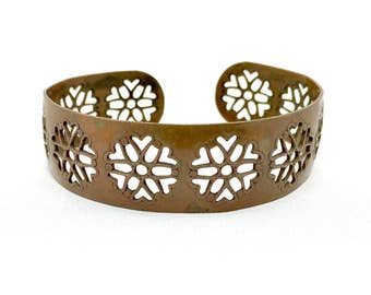 Copper Flower cut out vintage 1970's cuff bracelet