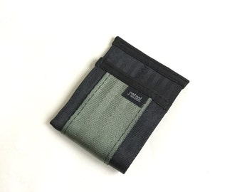 Front Pocket Wallet - Black and Foliage Green Seatbelt Webbing