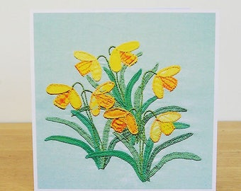 Daffodils Greetings Card, Recycled Card, Spring Card, Easter Card, Textile Art Card