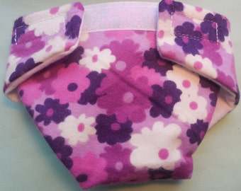 Doll diaper SIZE #2 Ready to ship  cloth diaper adjusts washable pansy flower fits some  reborn  bitty baby cabbage patch fur real monkey