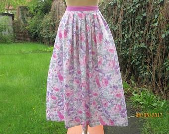 Long Full Skirt / Skirt Size EUR 42 / 44 / UK14 / 16 / Midi / Floral / Pink / Violet / White