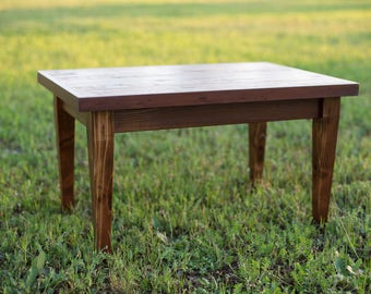 Small Coffee Table With Tapered Legs And Reclaimed Wood Top