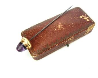 Art Nouveau Hat Pin. Amethyst Stick Pin. Large Natural Gemstone Cabochon, 14K Gold. Acorn Figural. Antique 1900's Art Nouveau Jewelry