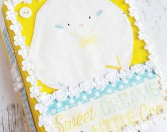 Personalized Baby Album, Handmade Baby Boy Album, Sweet Dreams Album, Yellow and White Album, Baby Sheep Album, Farm Animals Album
