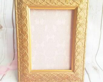 Gold Roses Photo Frame, Vintage Gold Frame, Roses Picture Frame, 5x7 Photo Frame, Victorian Photo Frame, Shabby Chic Gold Frame, Gold Leaf