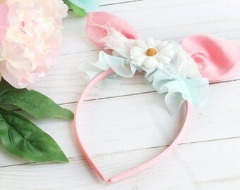 PINK Baby Headband, Bunny Ears, Baby Bunny Ears, Shabby Chic Headband, Girls Bunny Ears, Spring Headband, Pink and Aqua, Handmade
