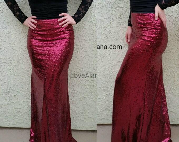 SALE TIL 11/23 Wine Maxi Sequin Skirt - Gorgeous high quality sequins (S,M,L,XL)