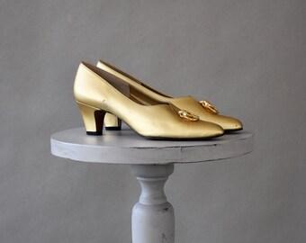 Vintage Gold Slip On Shoes