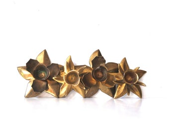 Vintage Brass Poinsettia Candle Holders