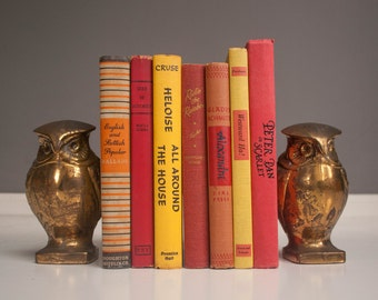 Vintage Solid Brass Owl Bookends