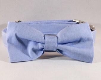 Preppy Blue Oxford Bow Tie Dog Collar