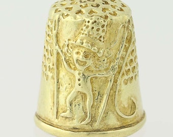 Figural Thimble - 18k Yellow Gold Whimsical Sewing Elf Tailor Gift N6765