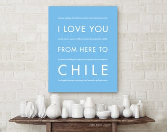 Chile Poster, Santiago Chile, South America Travel Poster, Travel Gift, Moving Gift, I Love You From Here To CHILE