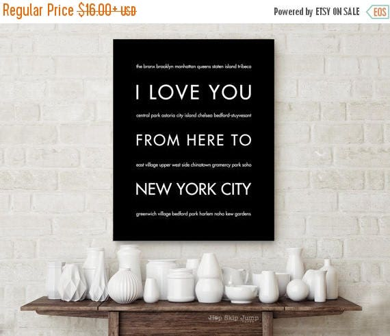 Mothers Day SALE NYC Art Print, Home Decor, I Love You From Here To New York City, Shown in Black, Free U.S. Shipping