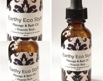Vitamin Rich & Moisturizing Massage And Bath Oil Made With Sweet Orange Bergamot And Lavender Essential Oils