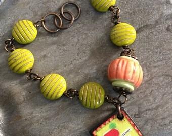 Artisan tile avacado wine brass bracelet