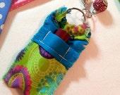 Pretty Floral Chapstick Holder Keychain for Women, Lip Balm Holder Key Ring, Lip Balm Case, Lip Balm Keychain, Bright Blue, Green, Pink