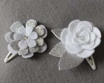 Set of 2 White Baby Hair Clips -  Baby Hair Bow -  Baby Snap Clips - Bridesmaid Hair Clip - Bridal Hair Bow - Ready to ship