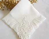 Handkerchief Hanky Hankie Vintage Hanky Antique White Lace Handkerchief