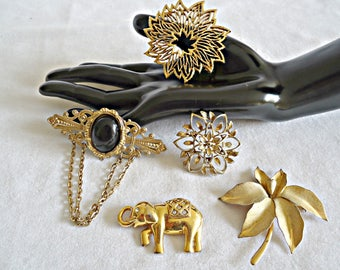 5 Vintage Brooch Pins Brooches Brooch Sarah Coventry Monet Elephant Gold tone  Lot B