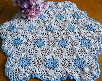 Vintage Doily Crocheted Large Doily Blue & White  Doilies  F6
