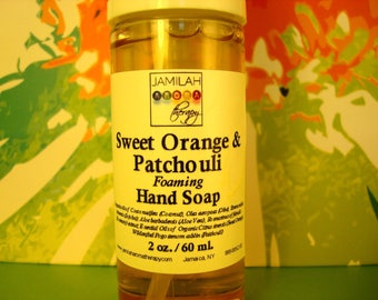 SALE: Organic Sweet Orange & Patchouli Foaming Soap, Aromatic, Easy Carry, Natural Anti-bacterial, Hand Cleaning, Castile Soap, 2 oz./60 ml.