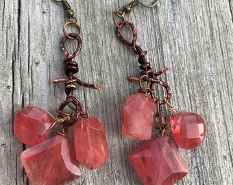 Cherry quartz dangle earrings on GENUINE Artisian copper wire . Thorn shaped metal vines. The Baroque Princess original jewelry creations