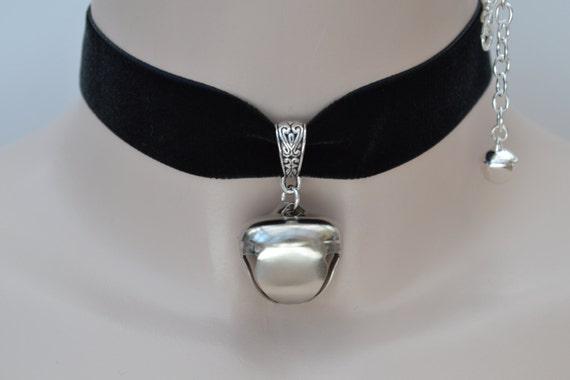 Huge JINGLE BELL (1 inch)  Drop Charm Black 22mm Velvet Ribbon Choker Kitty Cat Collar -bz... or choose another colour :)
