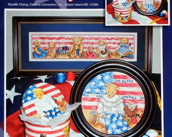 50%OFF Stoney Creek Collection PATRIOTIC Teddy BEAR Family (Multiple Designs)  - Counted Cross Stitch Pattern Chart Booklet