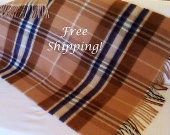 Throw Wool Plaid Browns & Navy Stadium Lap Blanket Vintage FREE SHIPPING!