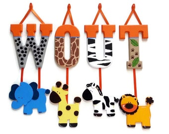 10 LETTER NAME -Individually Hanging Block Letters with adorable hanging shapes/animals jungle zoo safari Any Theme