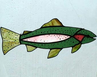 Rainbow Trout Stained Glass Suncatcher, River Fish, Camping, Glass Fish, Fishing, Window Decor, Handmade Gift, Home Decor, Colorado Trout