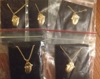 FREE SHIPPING 5 piece Gold Rolling stones tongue necklaces 80s 90s rock n roll keith richards xmas gift idea