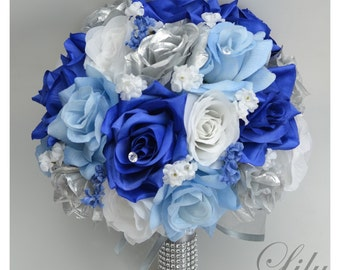 "17 Piece Package Bridal Wedding Bouquets Silk Flowers Bride Party Bouquet Decoration Centerpieces ROYAL BLUE SILVER ""Lily of Angeles"" BLSI02"