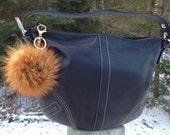 Red Fox Fur Pom Pom Keychain, Real Fur