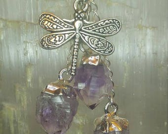Amethyst Crystal Dragonfly Necklace Silver Plated with Silver Chain