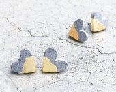 Dani's heart - Concrete heart earrings - Valentines - Handmade Concrete Stud earrings - Minimalist - Industrial jewellery - Gold leaf