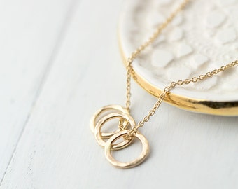 Tiny Triple Ring Gold Filled Necklace, Minimal Minimalist Necklace Jewelry Gift for Women, Gift for Her, Handmade Jewelry by Burnish