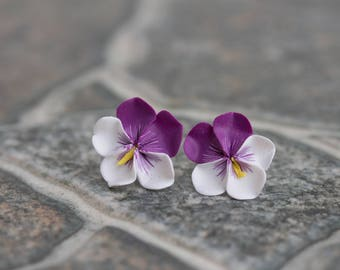 Purple White Pansies Stud Earings Wholesale Flower Hypoallergenic Polymer Clay Studs Woman Accessory Wedding Bridal Birthday Gifts
