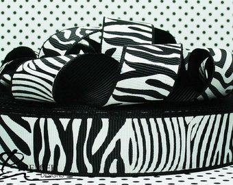 "7/8""  Zebra Chevron ((Discounted)) Grosgrain Ribbon"
