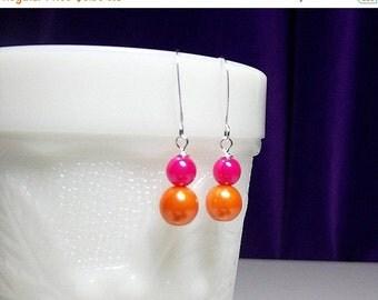 30% OFF SALE thru 2-28 Hot Pink Orange Pearl Drop Earrings, Bridesmaid Christmas Wedding Mom Mother Sister Birthday Aunt Mothers Day Girlfri