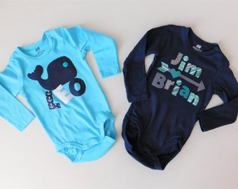 New baby gift or first birthday for baby boy or girl personalized name onesie bodysuit with whale OR arrow -  blue, gray, 3m 6m 12m 18m 24m