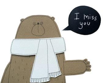 Miss You Card, I Miss You Card for Best Friend, Bear Miss You Card, Blank Greeting Card, Thinking of You Card for Best Friend