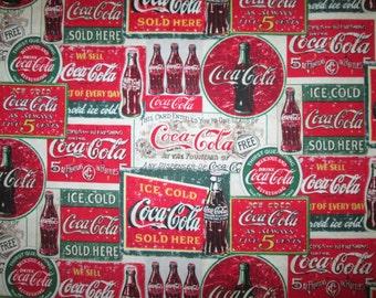 Coca Cola Coke Ads Ice Cold Cotton Fabric Fat Quarter or Custom Listing