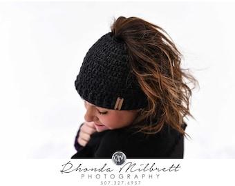 Messy Bun Hat - Messy Bun Beanie - Ponytail Hat - Bun Beanie - Crochet Beanie - Bun Hat Beanie