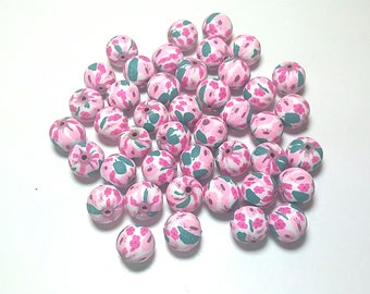 20 Fimo Polymer Clay Round Beads white pink flowers beads 12mm