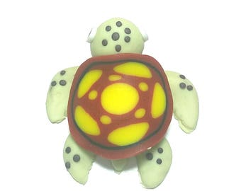 New Fimo Polymer Clay Yellow Red Turtle Figurine Refrigerator Magnet