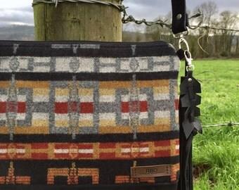 Crossbody Messenger Purse // Gray Rust Pendleton Wool Black Leather // Rosebud Originals