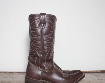 SALE 8 D | Men's 1970's Pointed Toe Brown Western Boots
